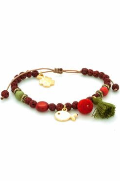 burgundy lava bracelet with gold-plated fish