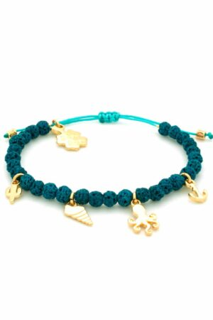turquoise summer bracelet with lava stones