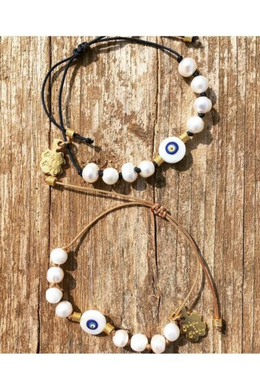 bracelets with pearl beads and evil eye