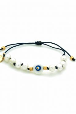 dark blue bracelet with pearl beads and evil eye