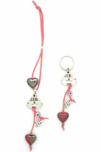 cute car charm with hearts and keyring combo