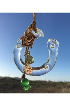 gift for good luck with handmade glass horseshoe