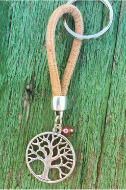 keyring with tree on cork loop
