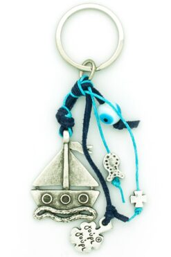 keyring with sailboat and evil eye