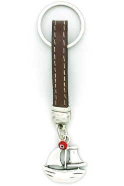 leather keyring with sailing ship