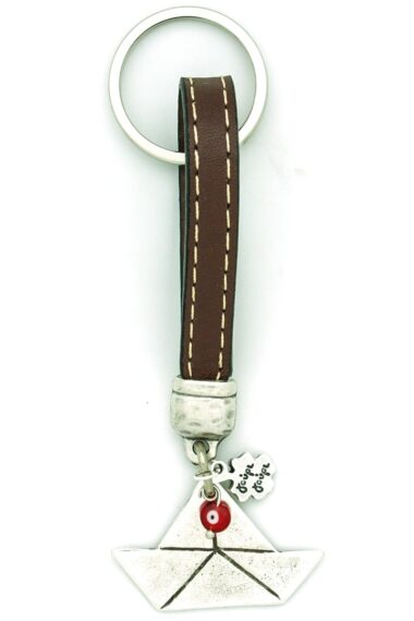 leather keychain with boat