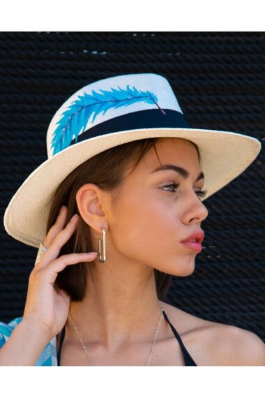 hat with light blue feather