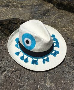 hat with light blue evil eye