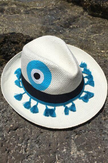 white summer straw hat with light blue evil eye for women