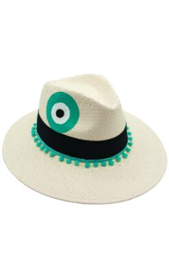 hat with turquoise evil eye