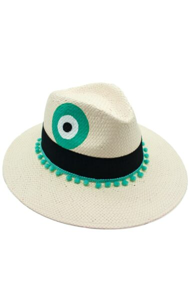 white summer straw hat with turquoise evil eye for women