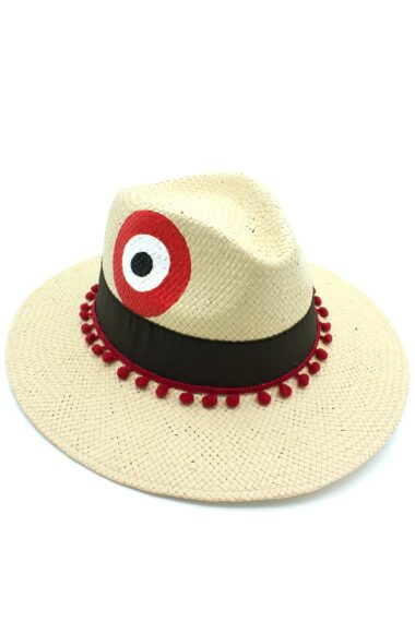 beige hat with evil eye