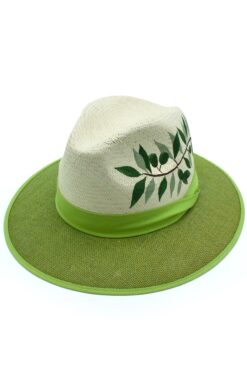 Panama hat with olive tree branch