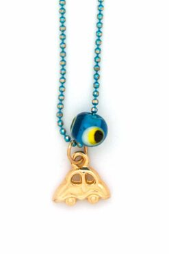 blue evil eye rear view mirror charm