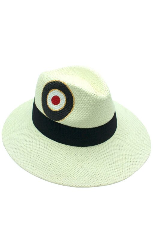 unisex white hat with evil eye