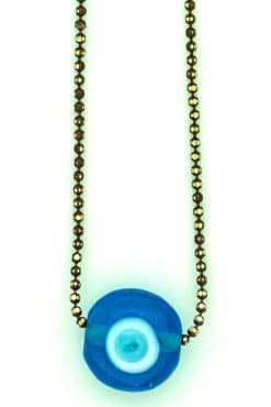 rearview mirror car charm with evil eye on brown chain