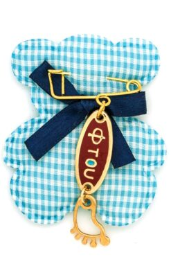 small new baby gift with red 'ftou' for boys