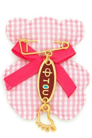 small new baby gift with red 'ftou' for girls
