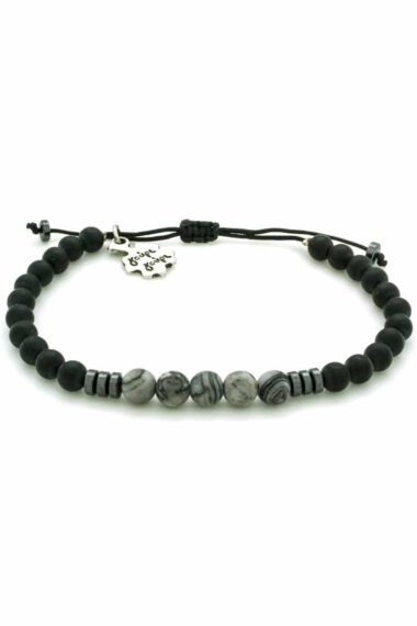 men's bracelet with grey beads
