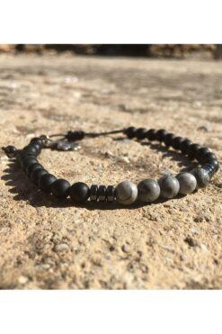 men's bracelet with grey beads