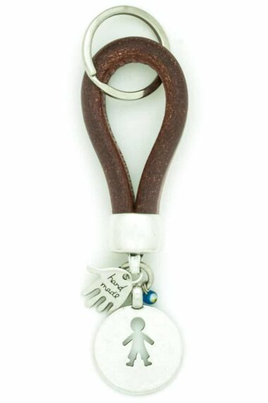 brown leather keyring for men