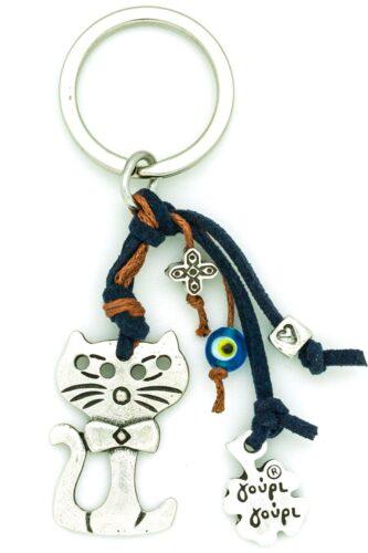 cat with bow tie keychain