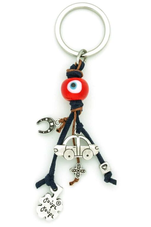 red evil eye car keyring