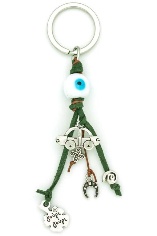 white evil eye car keyring