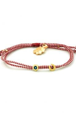 bracelet for March with evil eye and horseshoe