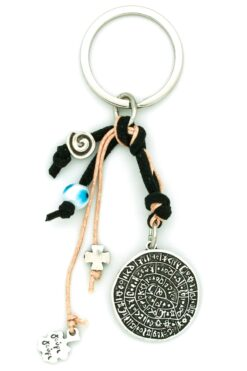 black keychain with Phaistos disk