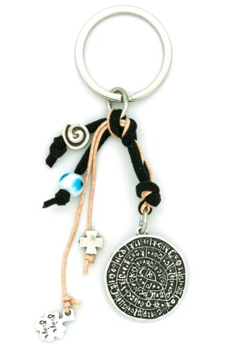 black keychain with Phaistos disk