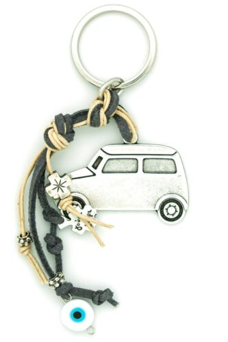 car keychain with evil eye and cross