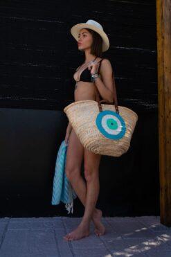 τσάντα παραλίας με τιρκουάζ μάτι