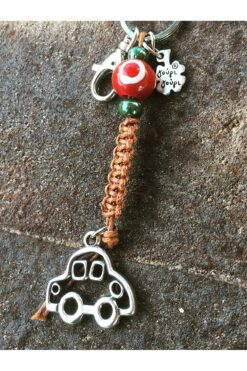 macrame car keychain with evil eye