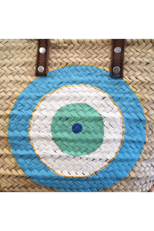 beach bag with turquoise evil eye