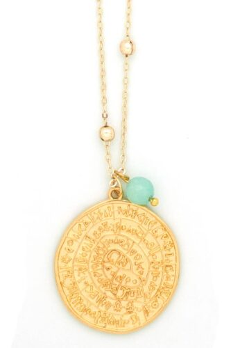 gold-plated Phaistos disk necklace