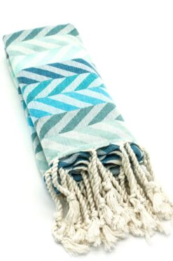 beach towel with blue chevron pattern