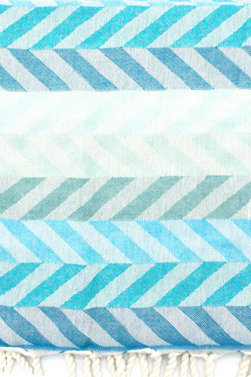 beach towel with blue chevron pattern