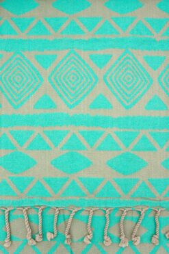 brown & turquoise beach towel