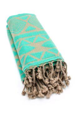 brown & turquoise beach towel