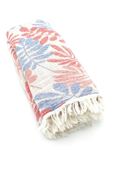 beach towel with red & blue leaves