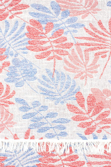 beach towel with red & blue branches