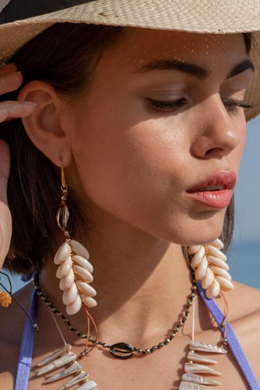 hematite shell necklace