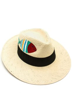 beige Panama style summer straw hat for women with fish