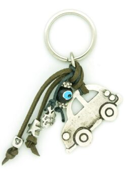 car keyring with heart and star