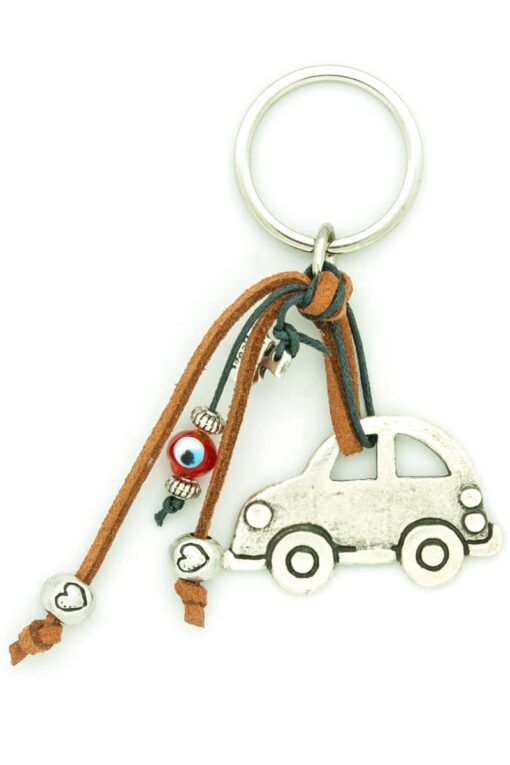 car keychain with hearts and evil eye