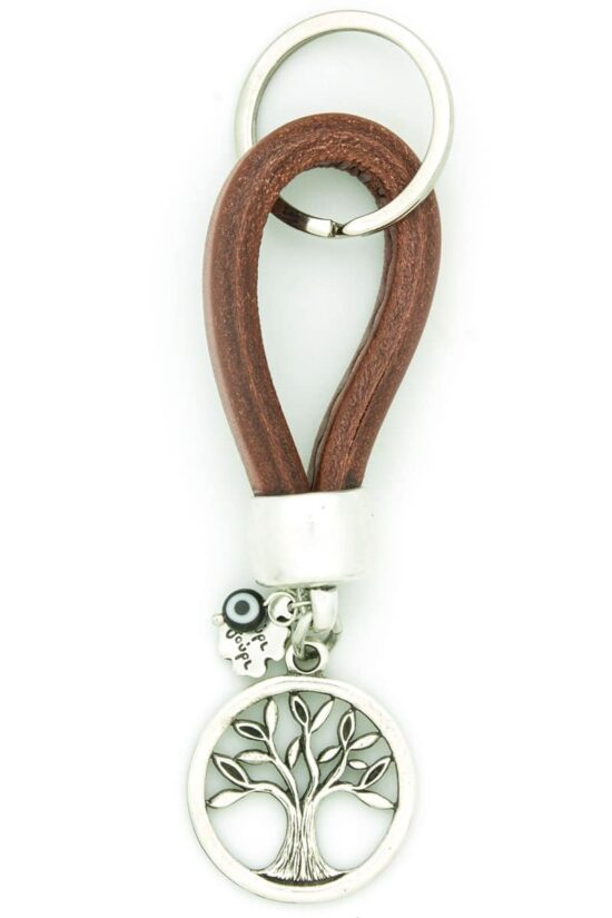 leather keychain with tree