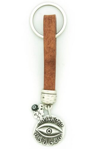 leather keychain with evil eye