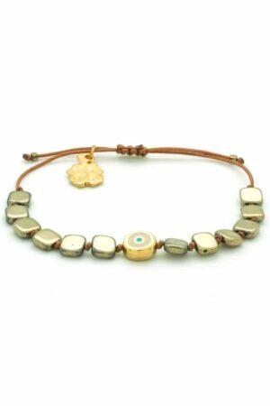 bracelet with large hematite beads and evil eye