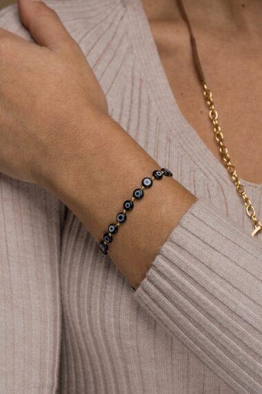 bracelet with black evil eyes